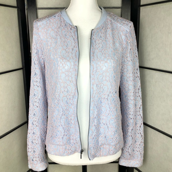 7085e5cea LC Lauren Conrad Jackets & Coats   Baby Blue Pink Lace Bomber Jacket ...